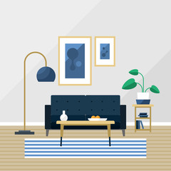 Living room vector illustration. Blue furniture set with couch, lamp, pictures, carpet and table. Pot with plant and wooden floor for cozy atmosphere in estate or flat.