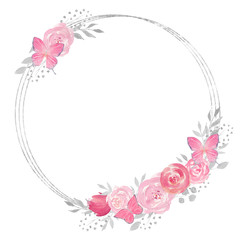 Watercolor floral wreath with rose, leaves, butterflies, feathers, flowers and branches.