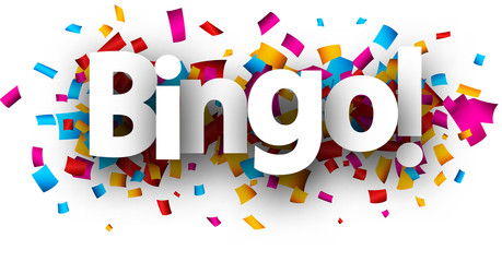 Bingo card with colorful confetti.
