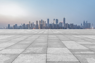 The skyline of Chongqing's urban skyline with an empty square floor.
