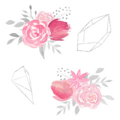 Set of watercolor floral composition with roses, flowers, leaves, and polygonal frames.