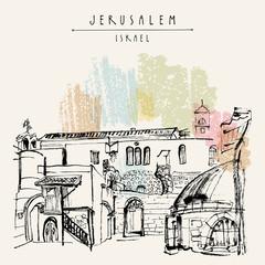 Jerusalem, Israel. Handmade brush ink drawing. Postcard or poster template. Book illustration. Freehand travel sketch
