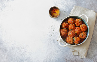 Meatballs stewed in tomato sauce