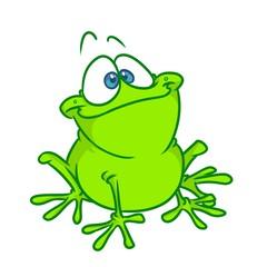 Smiling good green frog cartoon illustration isolated image