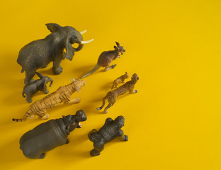 Plastic figurines of animals in hot countries.