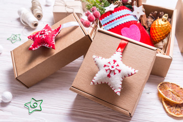 Handmade decor with cardboard box, Christmas concept