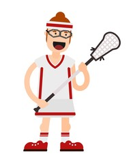 Flat color image of a player in lacrosse with a stick on a white background. Vector illustration