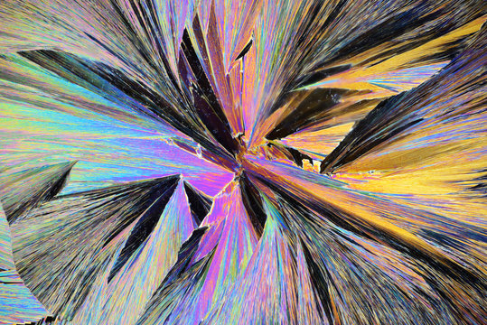 Multicolored texture with crystal structures