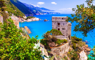 Cinque terre villages - scenic Monterosso al mare , view with medieval castle. Italy, Liguria