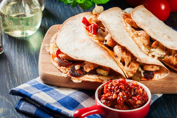 Mexican Quesadilla with chicken, sausage chorizo and red pepper