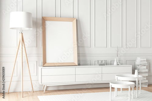 Large Wooden poster Frame Mockup standing on the white bureau\