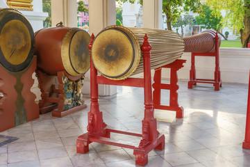 Tall narrow drum 5.32 meters in the marble temple or Wat Benchamabophit Dusitvanaram in Bangkok,Thailand