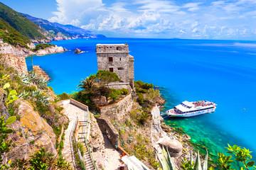 Cinque terre villages - scenic Monterosso al mare with turquoise sea. Italy, Liguria