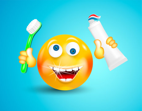 Happy smiling with white shining teeth emoticon or round face holding toothbrush and toothpaste in its hands on bright blue background. Cartoon character. Concept of healthy lifestyle and cleanliness.