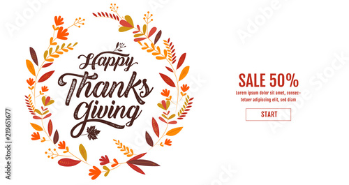 happy thanksgiving typography poster celebration text badge