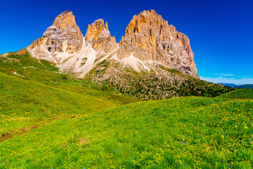 View of the beautiful Italian Dolomites mountain in summer sunny day