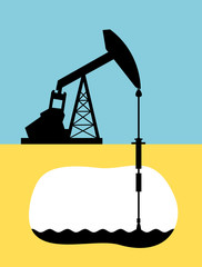 Oil well with low stockpile of commodity - Decline of production of oil because of decrease, drop and decline of low reervoir and reserve of petrol and petroleum. Vector illustration