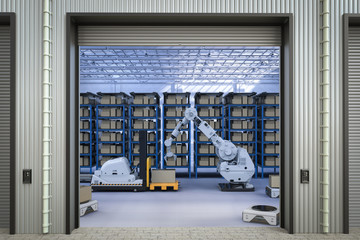automatic forklift and robot arm
