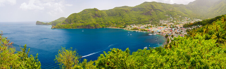 Fototapete - Panoramic view of Saint Lucia
