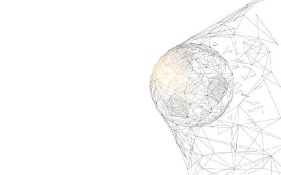 Soccer ball in goal from lines and triangles, point connecting network on blue background. Illustration vector