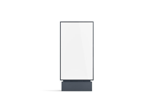 Blank white pylon banner mockup, front view, isolated, 3d rendering. Empty outdoor signage mock up. Clear street poster billboard for advertising. Display outside sign template