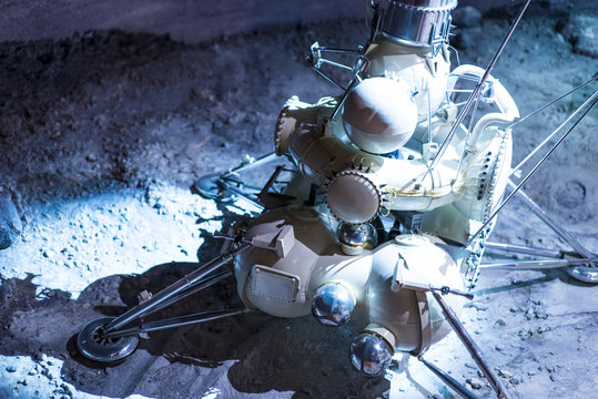 Astronaut Drives Rover. Smart the research station carries out research work on the moon