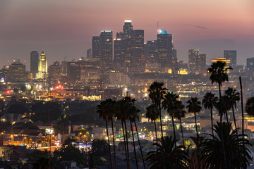 Keuken foto achterwand Los Angeles Los Angeles downtown evening skyline