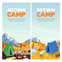 Autumn camping in mountains valley, vector banner, poster design template. Adventures, travel and eco tourism concept.