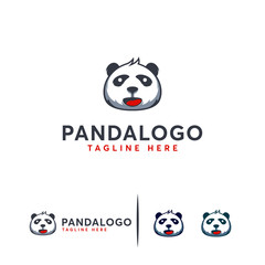 Cute Panda Face Logo designs concept vector, Animal Panda logo symbol