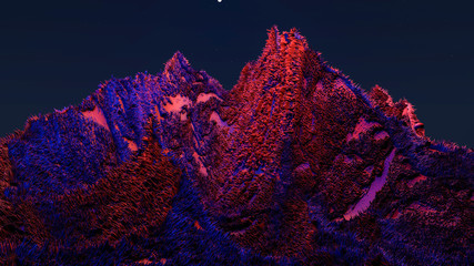 cosmic fantastic landscape. the surface of the planet. 3D rendering