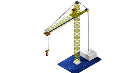 three-dimensional model of a toy crane. 3D rendering