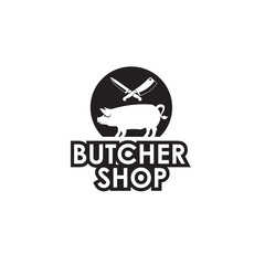 monochrome label of farm animal pig and knife for butcher shop