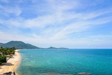 High angle view beautiful nature landscape of Lamai beach from Hin Ta Hin Yai viewpoint coastline near the blue sea under the summer sky of Koh Samui island, Surat Thani province, Thailand