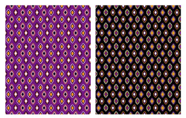 Hand Drawn Abstract Rhombus Vector Patterns Set. White, Violet, Orange and Black Infantile Graphic. Regular Ornamental Design.