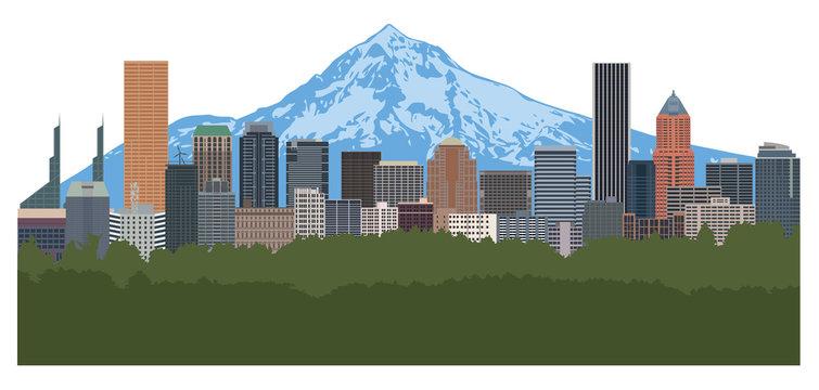 Portland Oregon Skyline Color vector Illustration