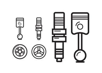 Car parts line icons set. Auto service repair symbol