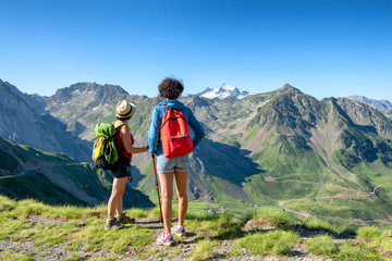 two women hikers on the trail of  Pic du Midi de Bigorre in the Pyrenees