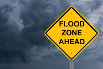 Flood Zone Ahead Caution Sign