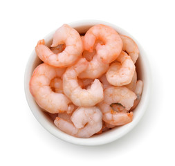 Top view of bowl with boiled shrimps