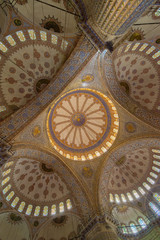 Interior of  Sultanahmet mosque (Blue mosque) in Istanbul, Turkey.