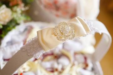 A decorative ribbon trims the basket