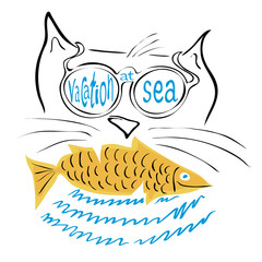 vacation at sea with fishing/ vector illustration cat in sunglasses and fish in the teeth