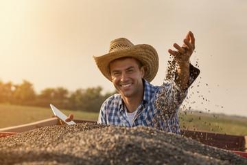 Happy farmer sitting in trailer full of sunflower seeds