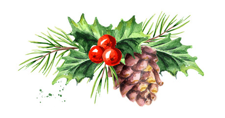 Christmas and New Year symbol decorative Holly berry with pine cone and branch composition. Watercolor hand drawn illustration, isolated on white background