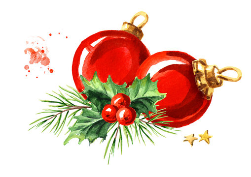 Christmas composition with fir branch and red ball. Watercolor hand drawn illustration, isolated on white background