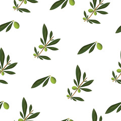 seamless texture with olive tree and olive oiles vector - green floral pattern - white background