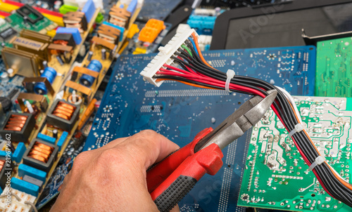 Fine Disposal Of Electronic Waste Hand With Pliers Connector With Power Wiring Cloud Nuvitbieswglorg