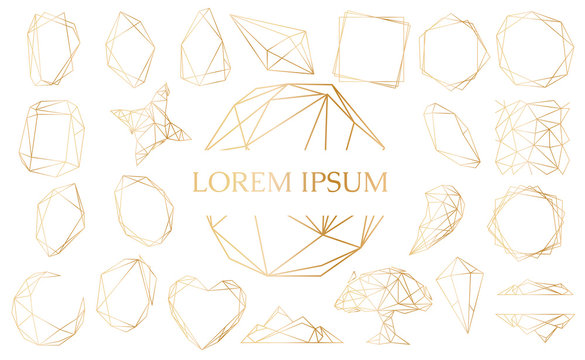 Gold set with geometrical polyhedron, art deco style for wedding invitation, luxury templates, decorative patterns. Modern abstract elements, vector illustration.