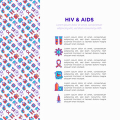 HIV and AIDs concept with thin line icons: safe sex, blood transfusion, antiviral drugs, physical examination, AIDs ribbon, blood test, genetic engeering. Vector illustration, print media template.