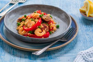 Spanish paella with prawns, chicken, chorizo and red pepper